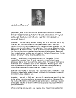 Ask Dr. Maynard, June 2013
